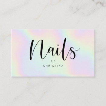 chic holographic rainbow unicorn nails script business card