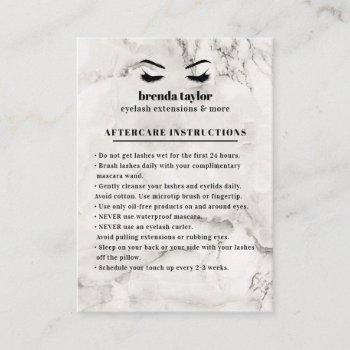chic marble eyelash browbar aftercare instructions business card
