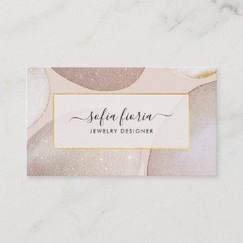 chic modern blush gold glitter jewelry business card