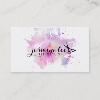 chic modern hair stylist watercolor purple grunge business card