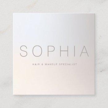 chic modern minimalist luminous silver square square business card