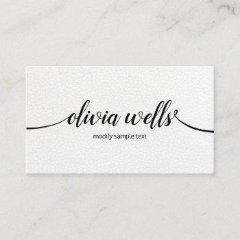 chic modern white leather handwritten calligraphy business card