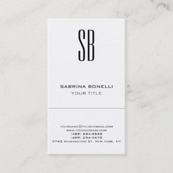 chic monogram white cute business card