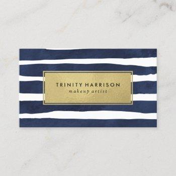 chic navy blue and gold striped business card