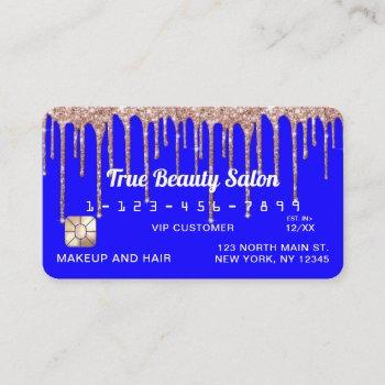 chic neon blue rose gold glitter drips credit business card