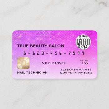 chic neon magenta sequin glitter credit card logo