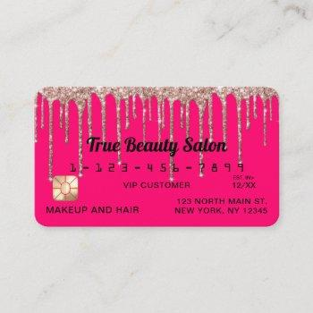 chic neon pink rose gold glitter drips credit business card