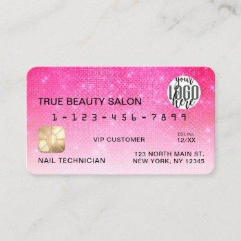 chic neon pink sequin glitter credit card logo
