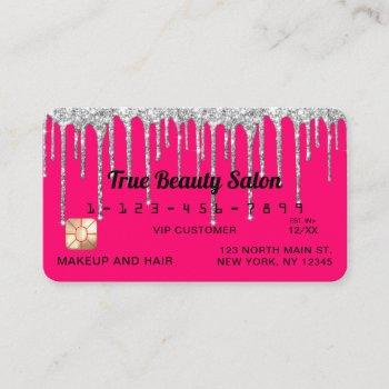 chic neon pink silver glitter drips credit business card