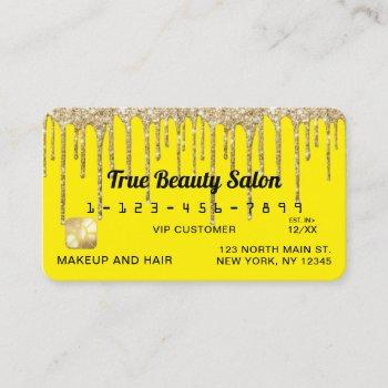 chic neon yellow gold glitter drips credit business card