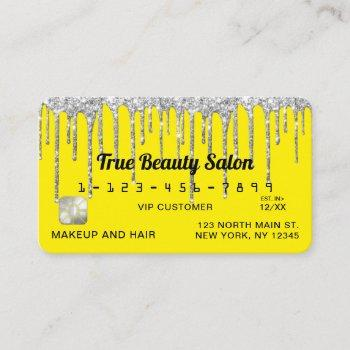 chic neon yellow silver glitter drips credit business card