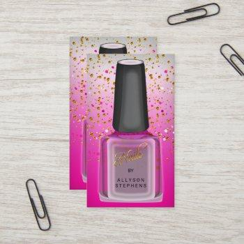 chic pink elegant polish nail technician salon business card