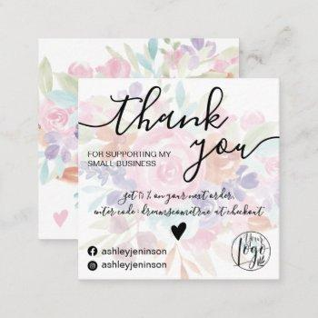 chic pink floral watercolor girly order thank you square business card
