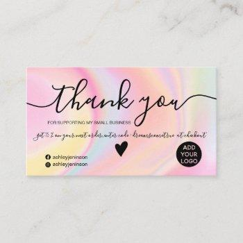 chic pink rainbow unicorn marble order thank you business card
