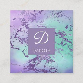 chic purple blue watercolor ombre marble monogram square business card