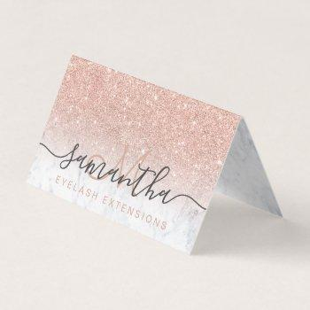 chic rose gold glitter ombre marble eye aftercare business card