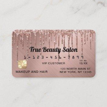 chic rose gold metallic glitter drips credit business card