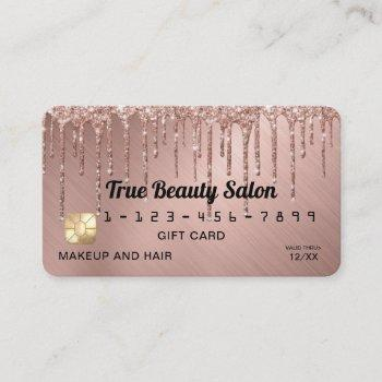 chic rose gold metallic glitter drips gift credit business card