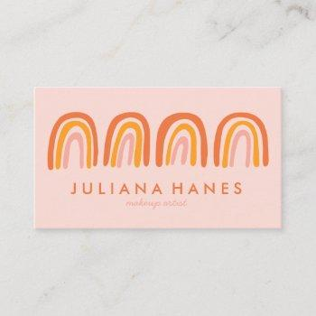 chic simple pink orange rainbows business card