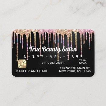 chic unicorn black metallic glitter drips credit business card
