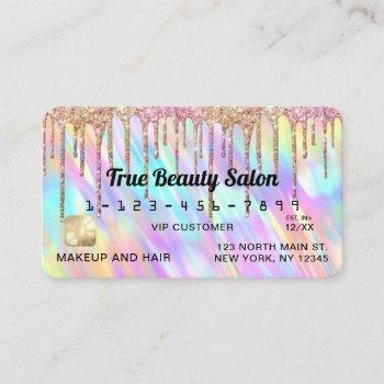 chic unicorn holographic glitter drips credit business card