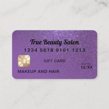 chic violet glitter credit card gift certificate