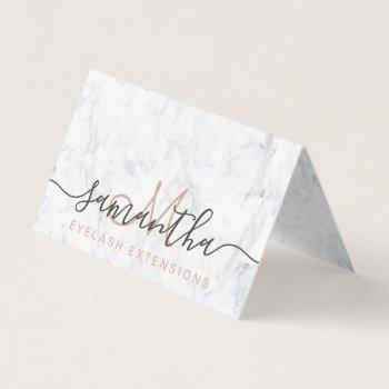 chic white marble trendy eye aftercare business card
