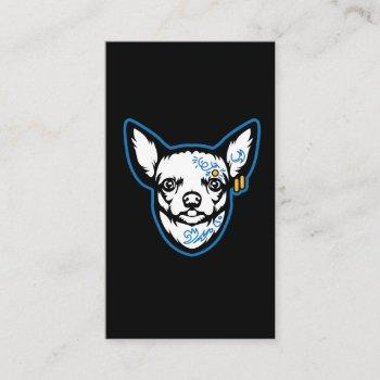 chihuahua dog - tattooed small dog for doggy lover business card