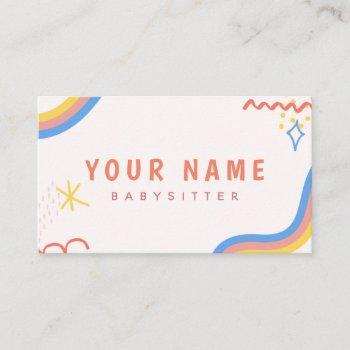 child care nanny babysitter colorful funky cool business card