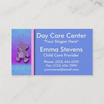child care purple teddy bear business card templat