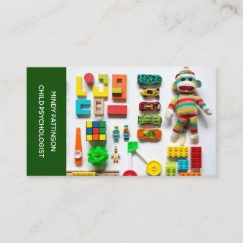 child psychologist play therapy toys photo green business card