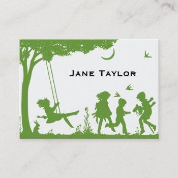 children's silouette calling card