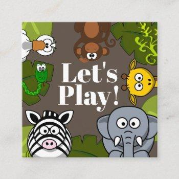 child's playdate fun animals card