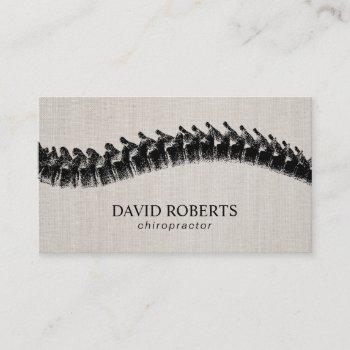 chiropractor chiropractic spine therapist linen business card