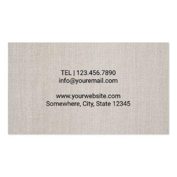 Small Chiropractor Chiropractic Spine Therapist Linen Business Card Back View