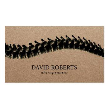 Small Chiropractor Chiropractic Spine Therapist Rustic Business Card Front View