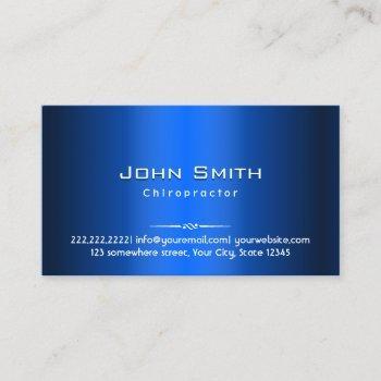 chiropractor modern navy blue faux metallic business card
