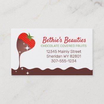 chocolate covered dipped strawberry confections business card