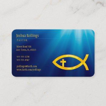 christian fish with cross | inspirational business card
