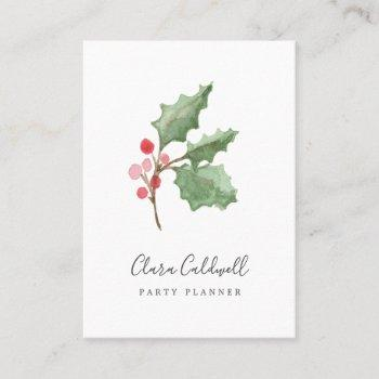 christmas greenery & red berry business card