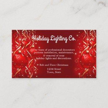 christmas, holiday lighting, decorations, custom business card