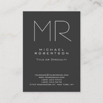 chubby modern monogram gray white business card