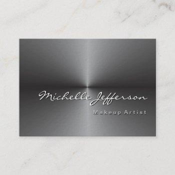 chubby rounded corner metallic silver gray business card