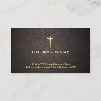 church gold cross elegant dark leather business card
