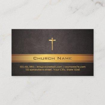 church pastor classy leather gold bar business card
