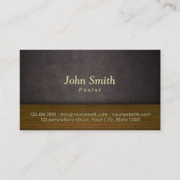 church pastor elegant leather & wood business card