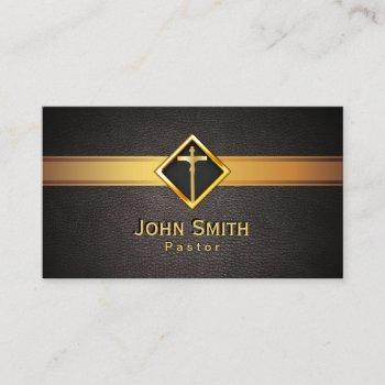 church pastor minister gold cross elegant leather business card