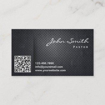 church pastor modern qr code dark metal business card