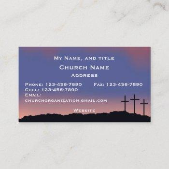 church / religious three crosses sunset sky business card