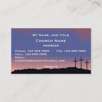 church / religious three crosses sunset sky business card